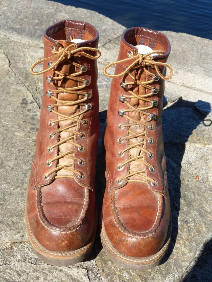 VINTAGE RED WING BROWN MOC TOE WORK BOOTS WOMAN'S 8.5 M