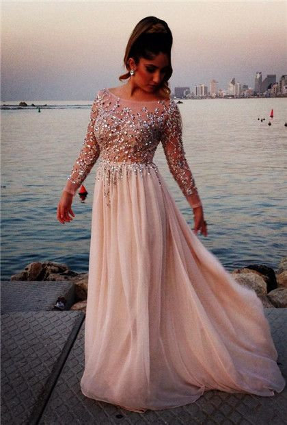 Long Sleeves Crystals Prom Dresses Scoop Neck Beaded Chiffon Court Train Evening Gowns