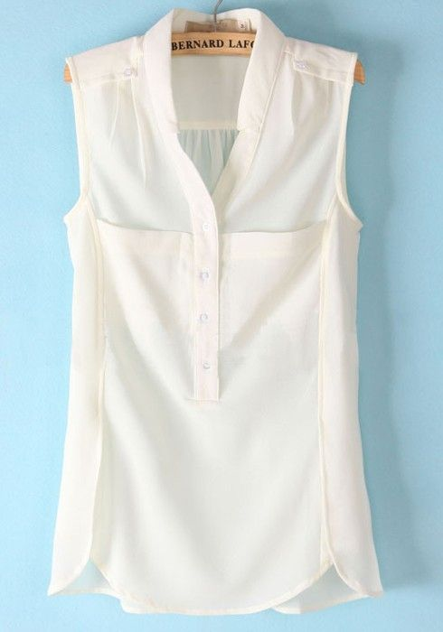 White Buttons Pockets Lapel Sleeveless Chiffon Blouse