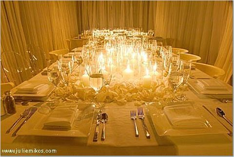 A Decorated square table  Candles