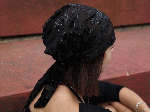 Silk Black Head Scarf 106