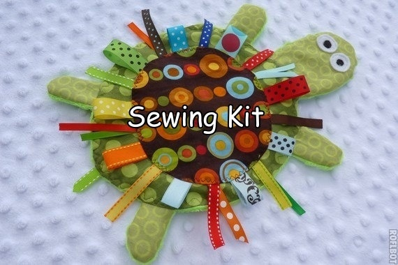 ready to ship- DIY- Yertle the Turtle- Sewing Kit- PDF instructions- Crinkle Crackle Toy- pattern. $9.99, via Etsy.