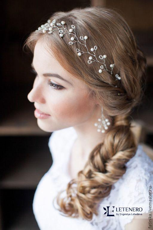 Купить Свадебный венок речной жемчуг и бисер / свадебное украшение прически - белый