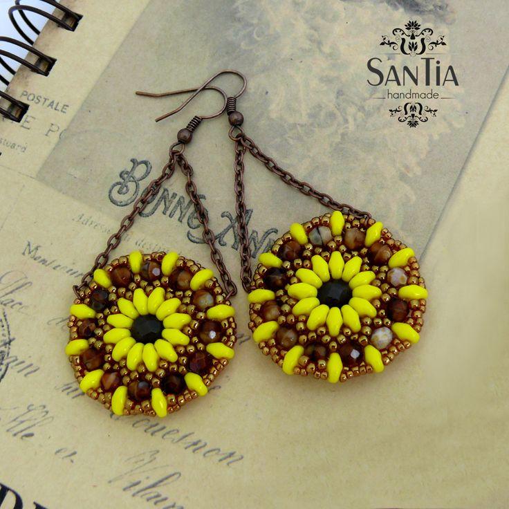 Kruhové náušnice žlto-medené mandaly :http://santiahandmade.com/produkt/kruhove-nausnice-zlto-medene-mandaly/