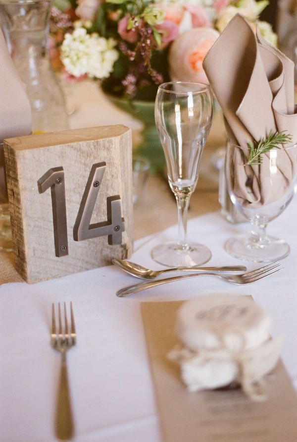 wooden block and metal house numbers wedding table numbers