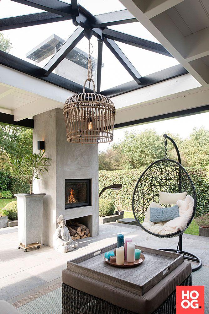 Buitenpracht Houtbouw - Exclusieve veranda met gestuukte haard - Hoog ■ Exclusieve woon- en tuin inspiratie.