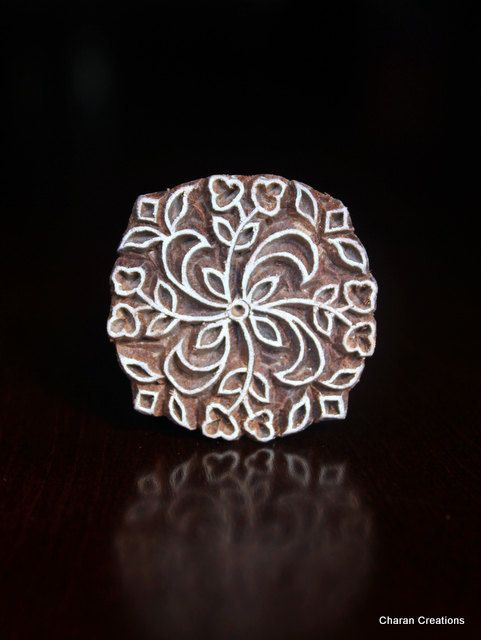 Hand carved indian wood textile stamp block round floral