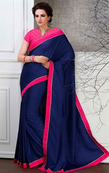 Picture of Blue Color Saree With Gorgeous Plain Pallu