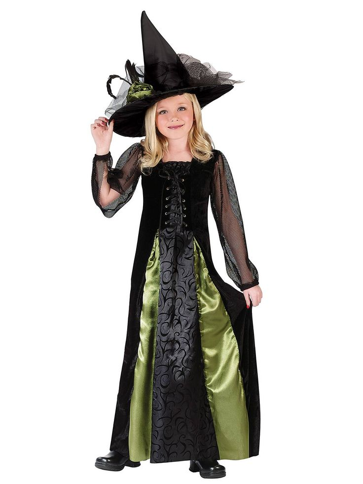 gothic maiden witch kids halloween costume for girls includes a black velvet laceup gown with brocade center panel and green satin