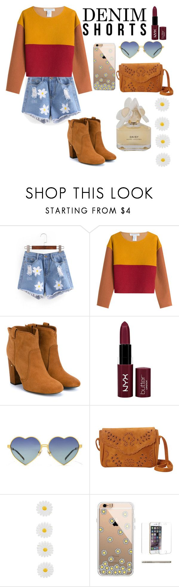 """""""Daisy shorts"""" by monsterderie ❤ liked on Polyvore featuring Philosophy di Lorenzo Serafini, Laurence Dacade, NYX, Wildfox, Nu-G, Accessorize, Marc by Marc Jacobs, jeanshorts, denimshorts and cutoffs"""