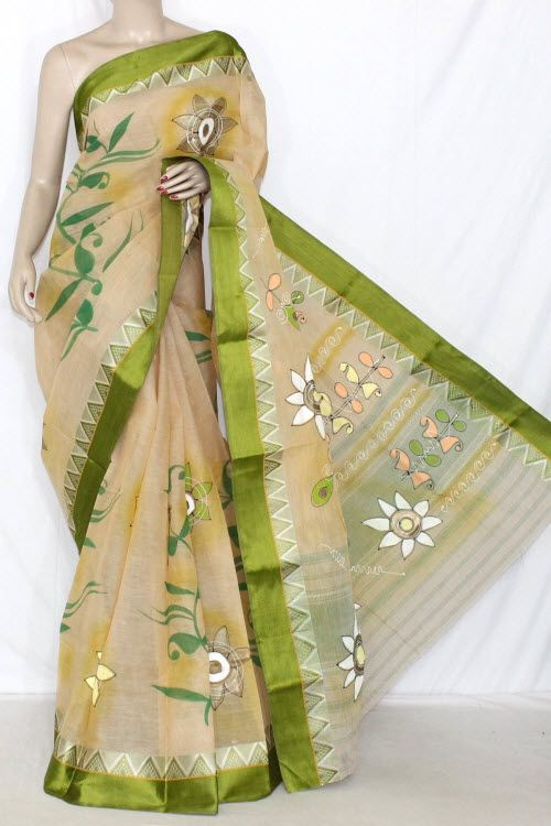 Beige Menhdi Green Hand-printed Bengal Tant Cotton Saree (Without Blouse) 13905