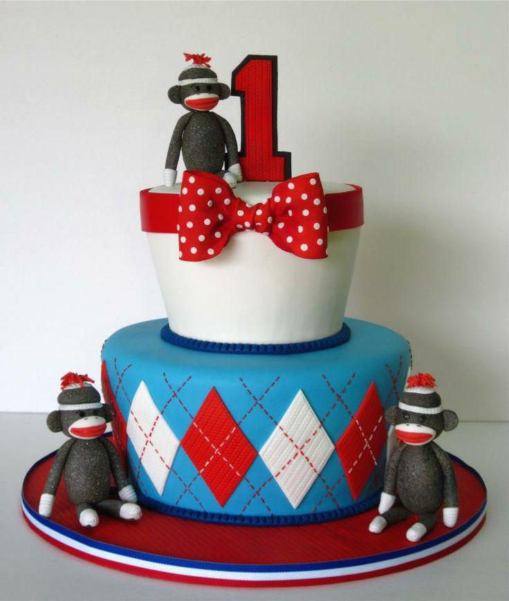 Sock Monkey's 1st Birthday cake
