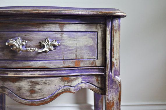 Gypsy Purple chalk painted Bohemian nightstand rustic distressed purple over white with natural stain undertones solid wood