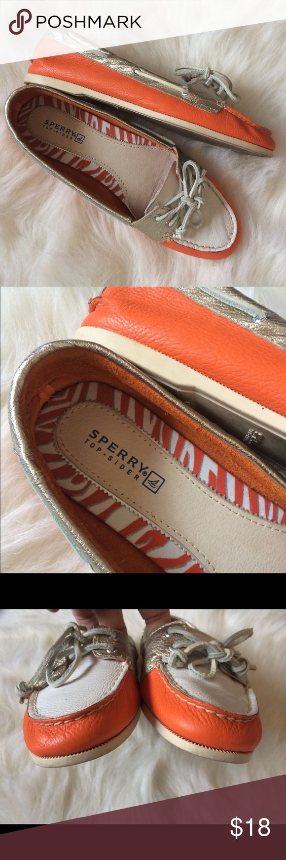 Sperry orange white and gold boat shoe flats Sperry orange white and gold boat shoe flats. Womens size 8. Leather upper. Unlined. Soft and flexible. No defects Sperry Top-Sider Shoes Flats & Loafers