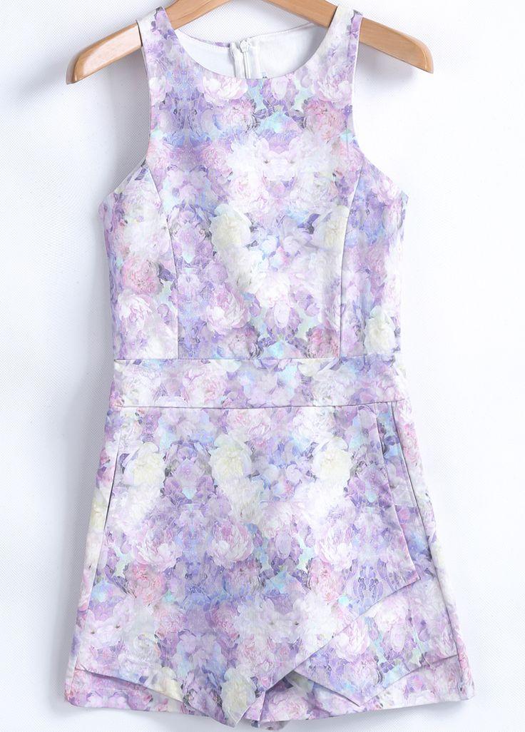 Purple Sleeveless Floral Slim Jumpsuit 23.33