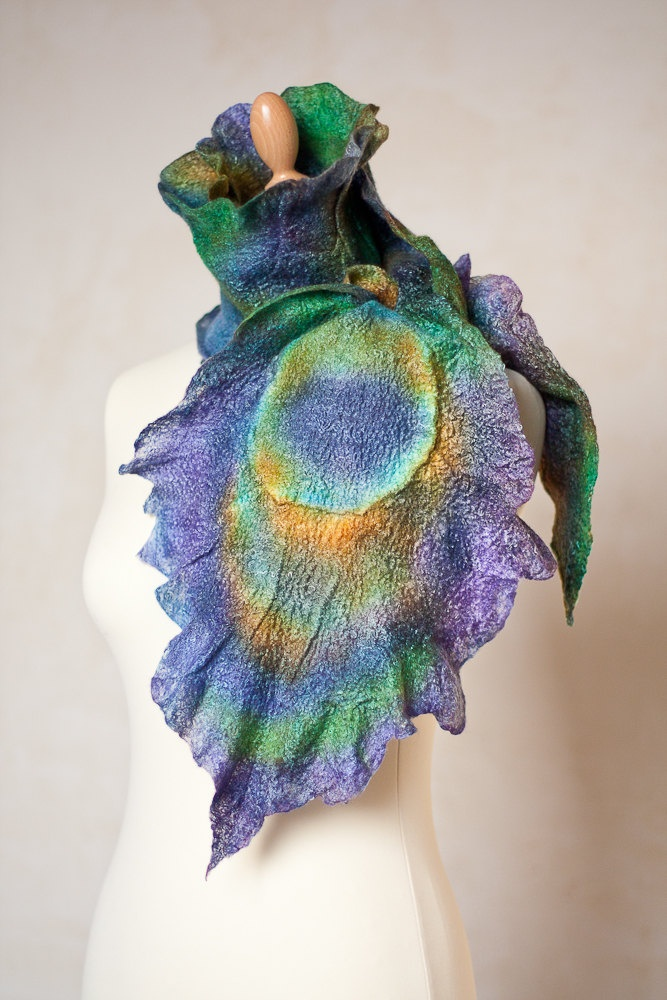 Peacock Feather Felted Scarf Fiber Art Purple by frenchfelt, €105,00