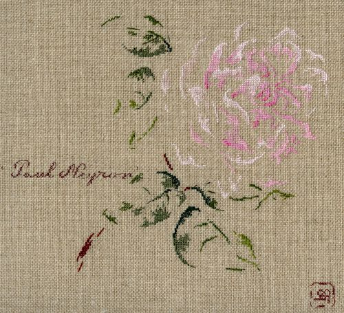 Par brodeuse Marie-Thérèse Saint-Aubin (embroidery works by Marie-Thérèse Saint-Aubin) | http://www.archive-host2.com/membres/images/1336321151/fleurs/roses/Paul_Neyron/Paul_Neyron.jpg