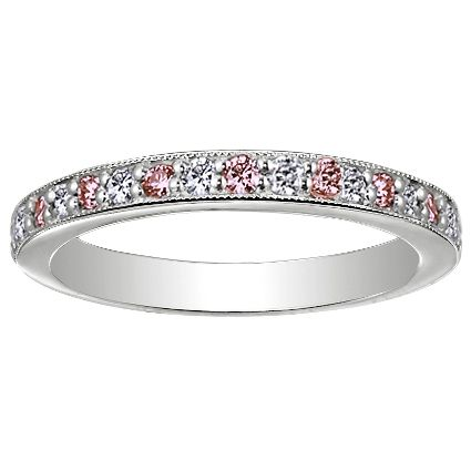 18K White Gold Pavé Milgrain Diamond and Pink Sapphire Ring from Brilliant Earth