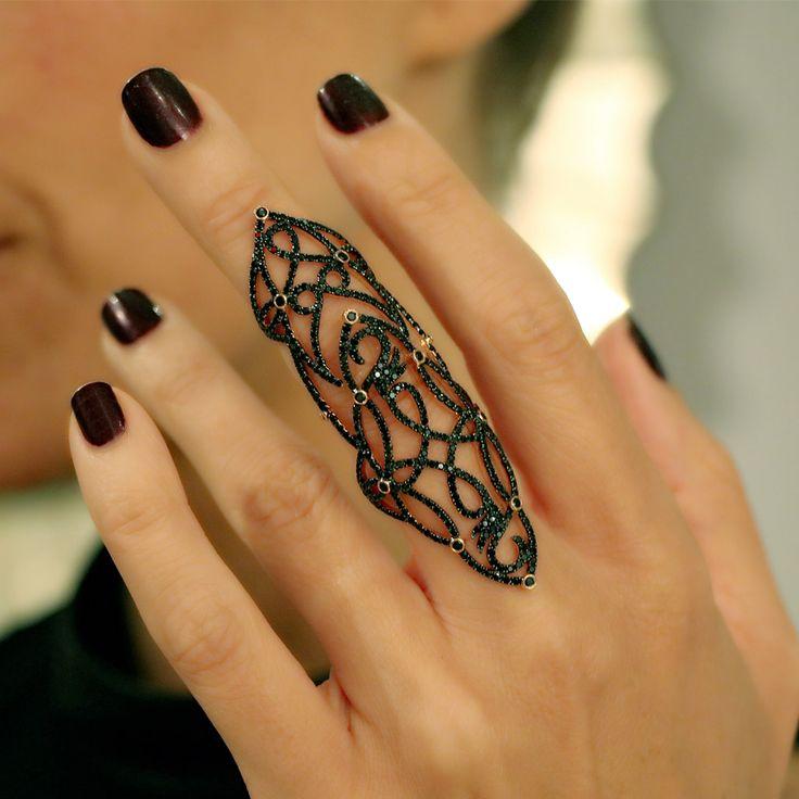 """Lasya"" Black Spinel Full Finger Ring - Plukka - Shop Fine Jewelry Online"
