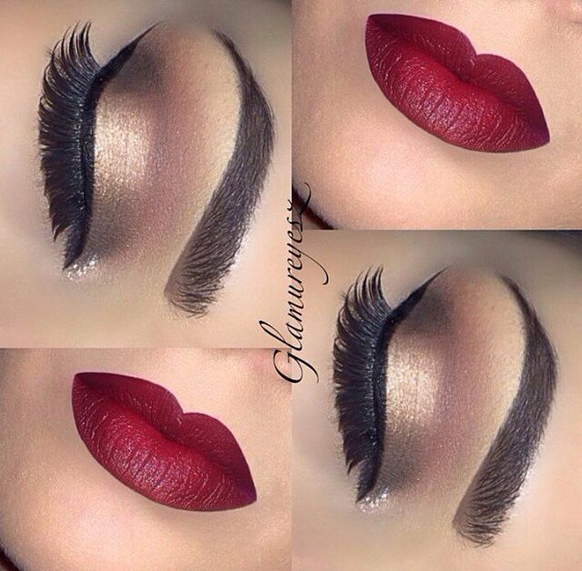 Perfect Autumn/winter look dark lip liner, red lipstick, flawless eyebrows and metallic Eyeshadows finished with liner and false eye lashes!  #loveit! <3