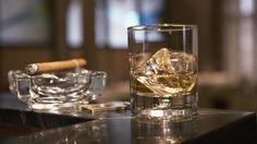 сигара, виски, стакан, лед, стол