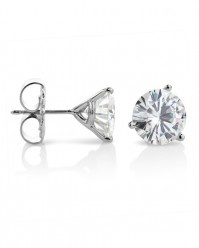 Simply Studs - 0.50 -6.20ctw Three Prong Martini Round Brilliant Moissanite Solitaire Stud Earrings, 14K White or Yellow Gold