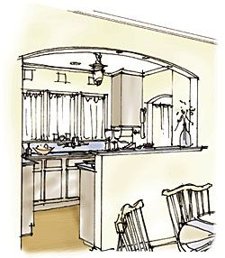 """Kitchen inspiration (""""Opening Up a Small Kitchen"""" - When you can't add on or bump out, open the kitchen to adjacent spaces and keep the layout simple)"""