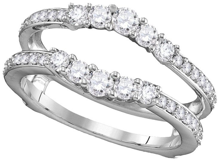 white gold womens round natural diamond ring guard wrap solitaire enhancer cttw discover this special product click the image wedding ring enhancers - Wedding Ring Enhancers