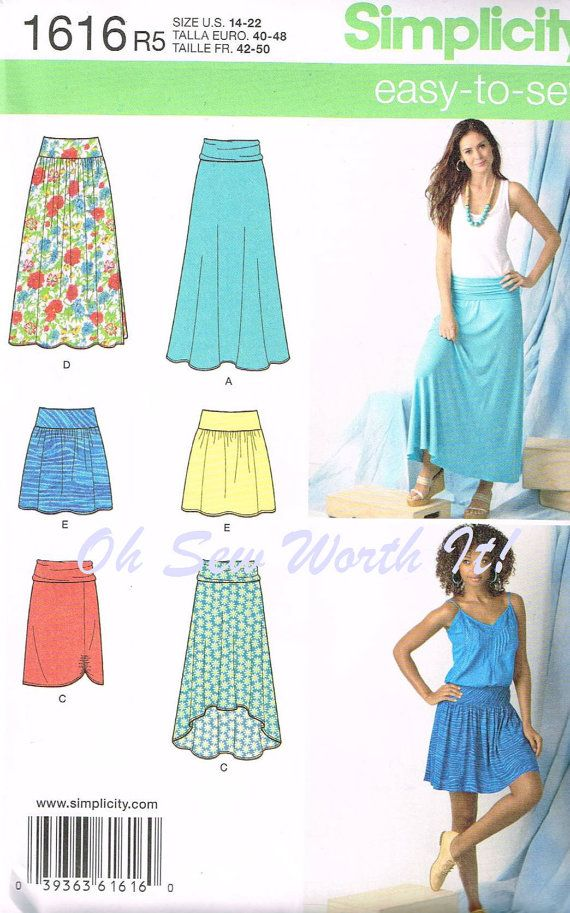 Lower R blue skirt on model. For swimsuit cover up! Lagenlook Patterns | Simplicity 1616, Commercial Sewing Pattern, Misses Knit Skirts, Size ...