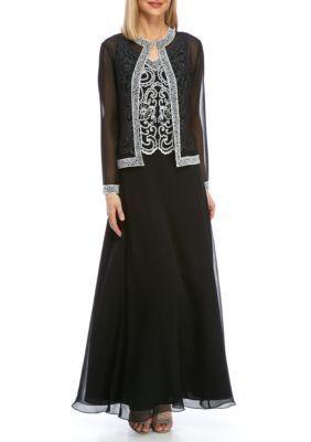 Jkara Women's Beaded Chiffon Jacket Overlay Gown - Black/White - 12