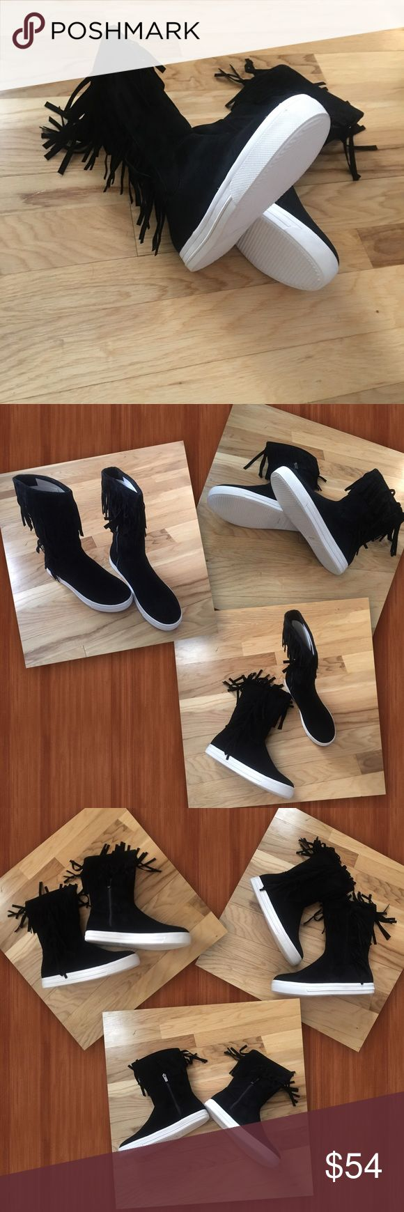 Jump The comfort and simple style of a slip on tennis shoe crafted into a boot. Boho friendly black suede boots. Inside black zippers for an easy pulling off and putting on fit. With the Added festive fringe along the top and down the outside edge. Make your own style with shorts, skirts, leggings, jeans...versatile and trendy! Shoes Ankle Boots & Booties