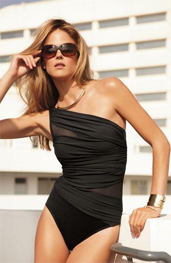 Miraclesuit® 'Jena' One Piece SwimsuitBathing Suits, Fashion, Style, One Piece Swimsuits, Swimwear, One Shoulder, Black Suits, Bath Suits, Summer Chic