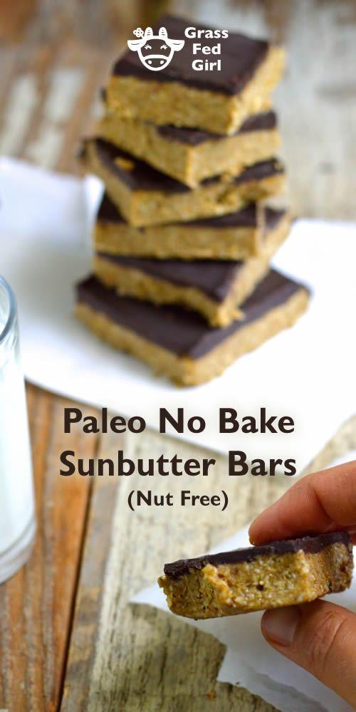 Easy No Bake Sunbutter Bar Dessert Recipe| https://www.grassfedgirl.com/easy-no-bake-sunbutter-bar-dessert-recipe