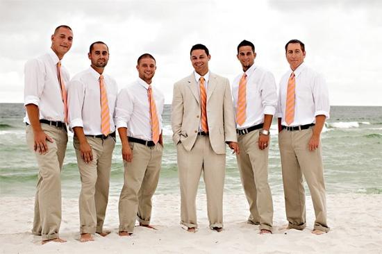 Groom Groomsmen Beach Wedding Attire But Gray Suits