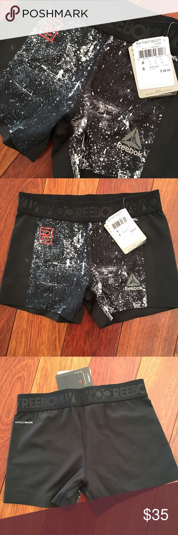 Reebok combat fight booty short NWT Compression fit, speed wick technology, antimicrobial treatment to stop odor buildup, 4f chafe free seams and internal grip tape, embossed elastic waistband 82% polyester 18% elastane Reebok Shorts
