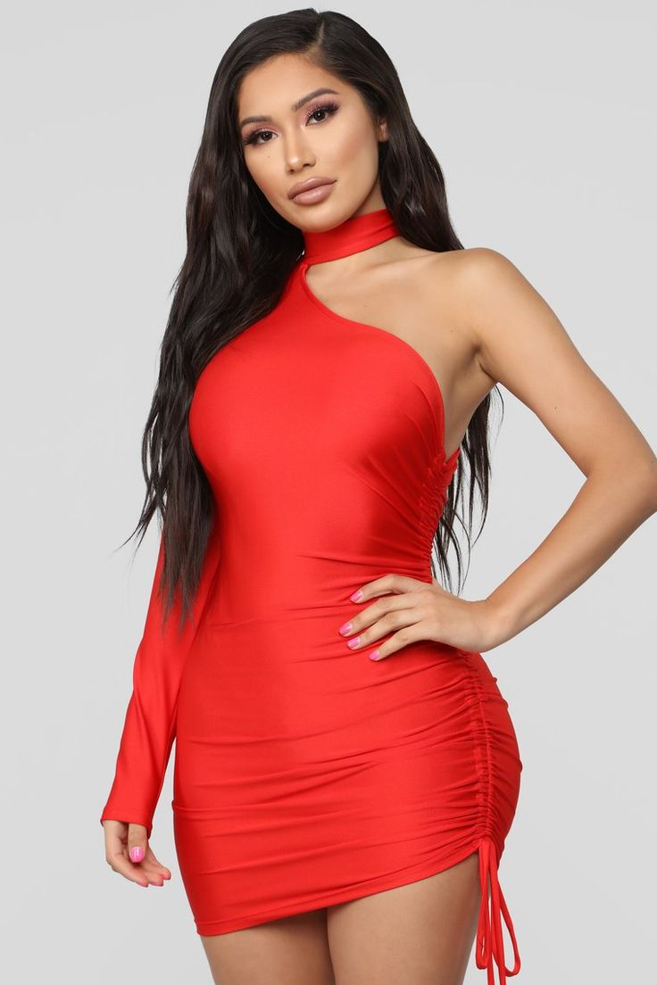 Better On This Side Ruched Mini Dress - Red