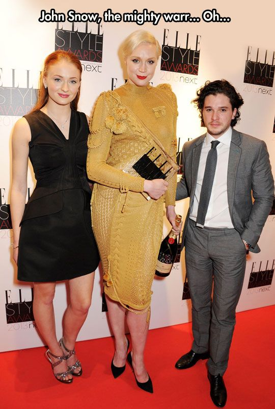 You know nothing, Jon Snow...Oh wait, is his hand on Brienne of Tarth's ass? GO JON SNOW!