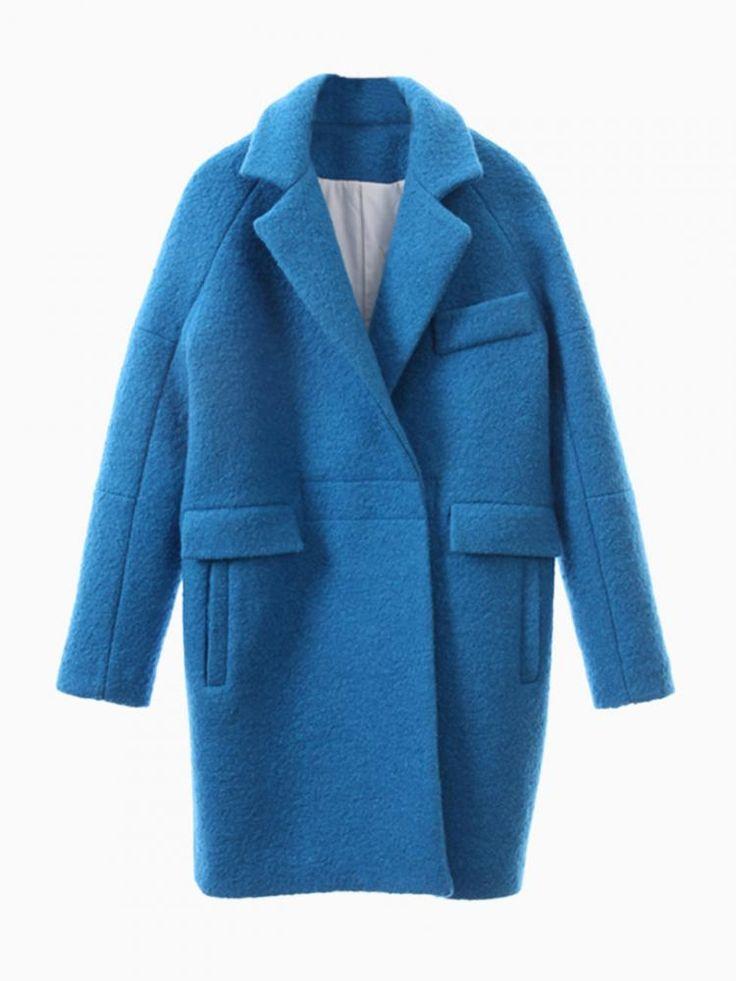 Blue Long Sleeve Lapel Ovoid Coat - Sheinside.com
