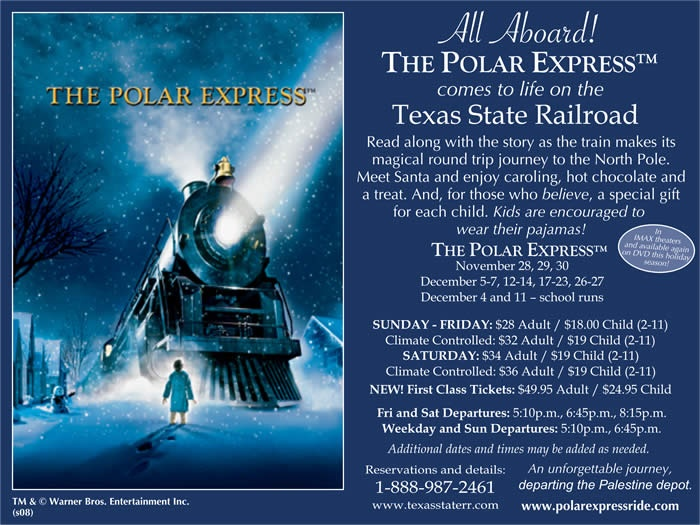 Texas State Railroad Polar Express. December 15, 2013 doing this with the Grandkids!