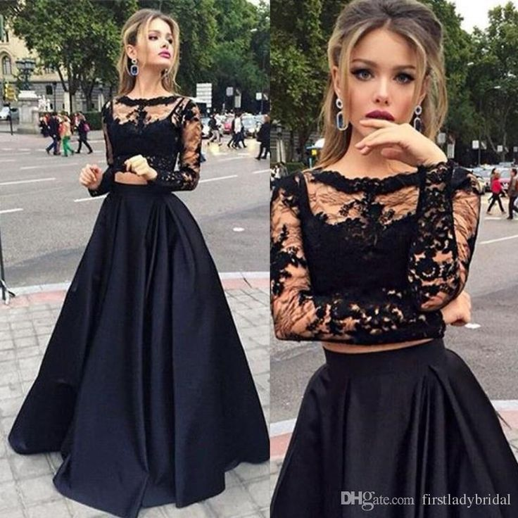 Prepare the long formal dresses for the upcoming prom? Then you need to see long sleeves prom dresses black two pieces lace top and satin sheer crew neck special occasions gowns victorian style party dress in firstladybridal and other online dresses and prom dresses under 100 on DHgate.com.