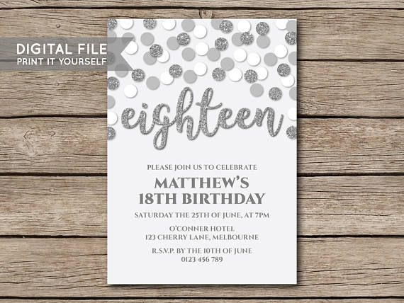 DIGITAL FILE  DIY Glitter Confetti Birthday Party Invitation