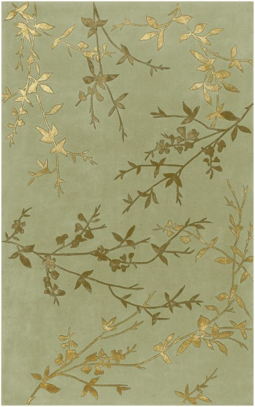 Tamira Contemporary Transitional Olive Green Gold Contemporary Leaf Hand Made Wool Rug - Surya   Rugs by SelectRugs.com