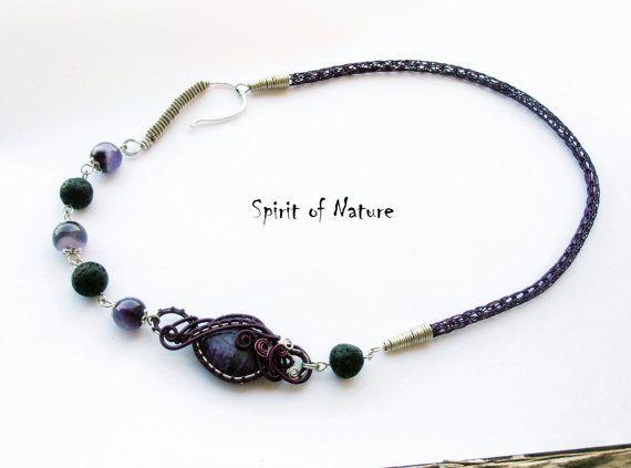 Purple viking knit necklace Viking knit by SpiritofNatureCrafts