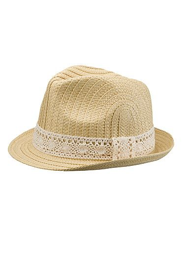 Fedora hat with lace band (original price, $14) available at #Maurices