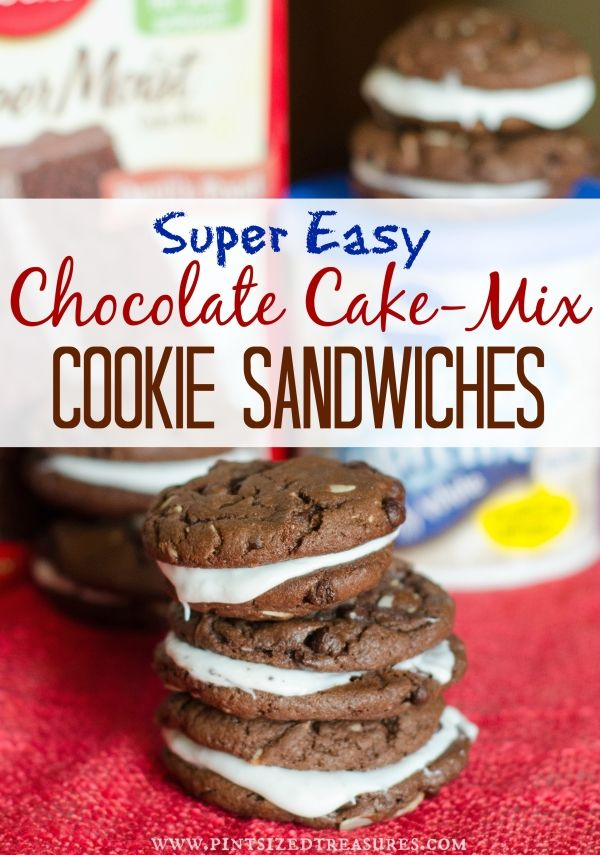 The super-easiest cookies in the world that are no-fuss and little mess! Perfect for a busy mom who wants to serve her munchkins home-made cookies! #cookies #cakemixcookies #easycookies www.pintsizedtreasures.com