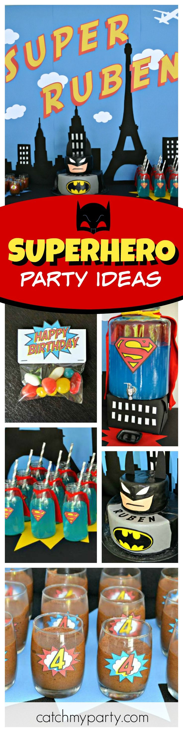 Check out this awesome Superhero birthday party! The Batman cake is amazing!! See more party ideas and share yours at CatchMyParty.com