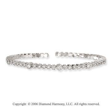 14k White Gold Prong .60  Carat Diamond Bangle Bracelet -> Description: This bangle is a remarkable display of prong set diamond splendor. Celebrate white gold and fine diamonds with this 14k White Gold Prong .60 Carat Diamond Bangle Bracelet. -> sku=BG1071 -> Price $1440.00
