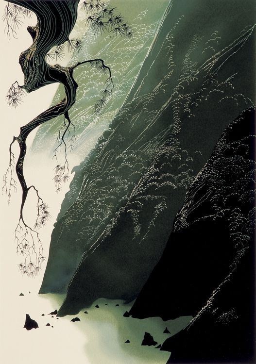 """© 2006 Eyvind Earle Publishing  Title:Jade Cove (Estate)     16"""" X 11 1/4""""To Order  ----  Please Call    831-625-1738 or Email:    info@gallery21.com"""