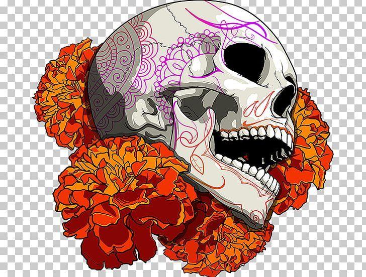 Calavera Mexican Marigold Day Of The Dead Skull Png Art Bone Calavera Color Day Of The Dead Day Of The Dead Skull Skull Latin American Art