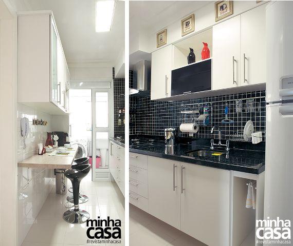 7 cozinhas pequenas do tipo corredor | <i>Crédito: Fotos Eduardo Raimondi